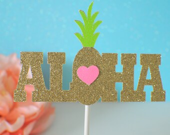 Aloha cake topper, Hawaiian cake topper, luau cake topper, Luau party, cake topper, smashcake topper, birthday cake topper