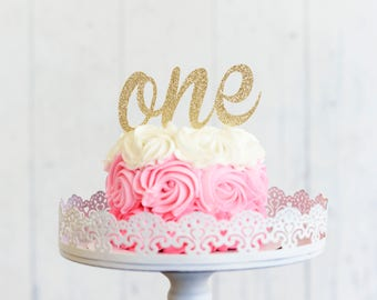 ONE Cake Topper Gold One Smash First Birthday