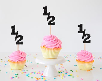 Half birthday Cupake Topper, 6 months cupcake topper, cupcake topper, 1/2 birthday cupcake toppers, cupcake toppers