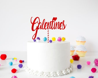 Happy Galentines cake topper, valentines cake topper, galentine's Day cake topper. Galentinesday