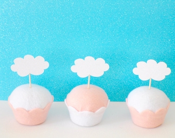 Cloud Cupcake Toppers, Unicorn Party, Unicorn cake topper, cupcake topper, airplane cupcake topper
