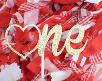 One cake topper, Valentine Cake topper, Valentines day cake topper, Valentines Day party, Valentines day, love cake topper