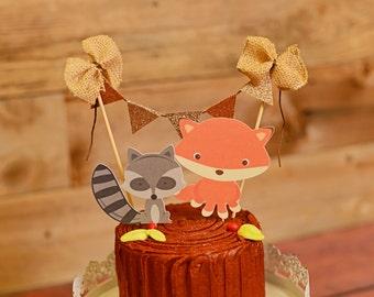 Woodland cake topper, Thanksgiving Cake Topper, Fall Cake topper, Fox Cake topper, Raccoon cake topper