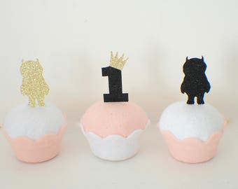 Wild one cupcake toppers, crown cupcake topper, One cupcake topper, wild one party, wild one partty decor (12 toppers)
