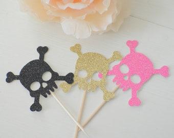 skul cupcake toper, skull and bones cupcake toppers, pirate cupcake toppers(12 toppers)