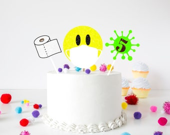 Quarantine cake topper, emoji cake topper, quarantine birthday, birthday cake topper