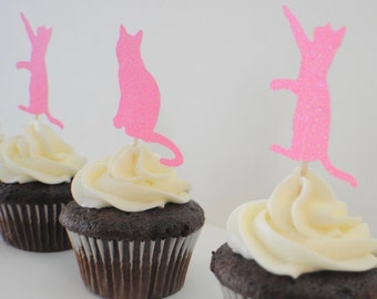Cat Cupcake toppers, Kitty cupcake toppers, Cat  (12 toppers)