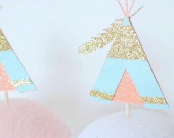 Teepee Cupcake topper, Wild one Cupcake topper, Wild one party, boho cupcake topper, boho party