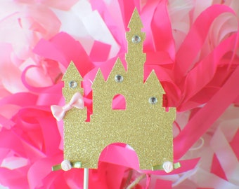 Castle Cake topper, Princess cake Topper, princess party, party decor, cake topper for girl