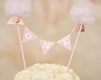 Pom Pom cake topper, One Cake Topper, smash cake topper, vintage chic cake topper, boho cake topper, country chic cake topper