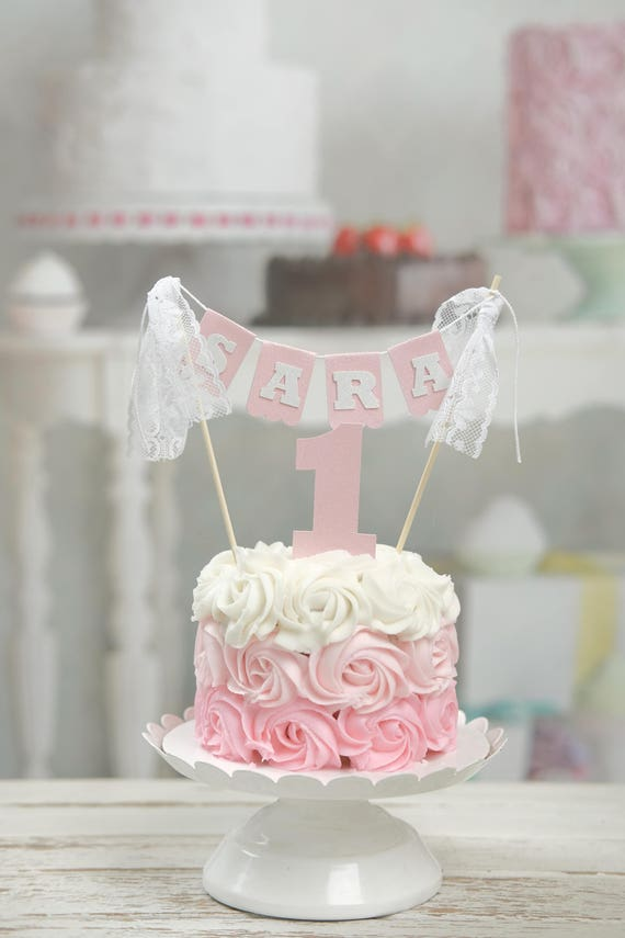 Name Cake Topper First Birthday Lace Pink Vintage Smashcake