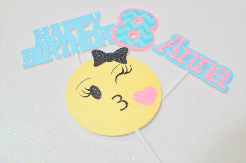 Emoji Cake topper emoji party smiley cake topper smiley image 0