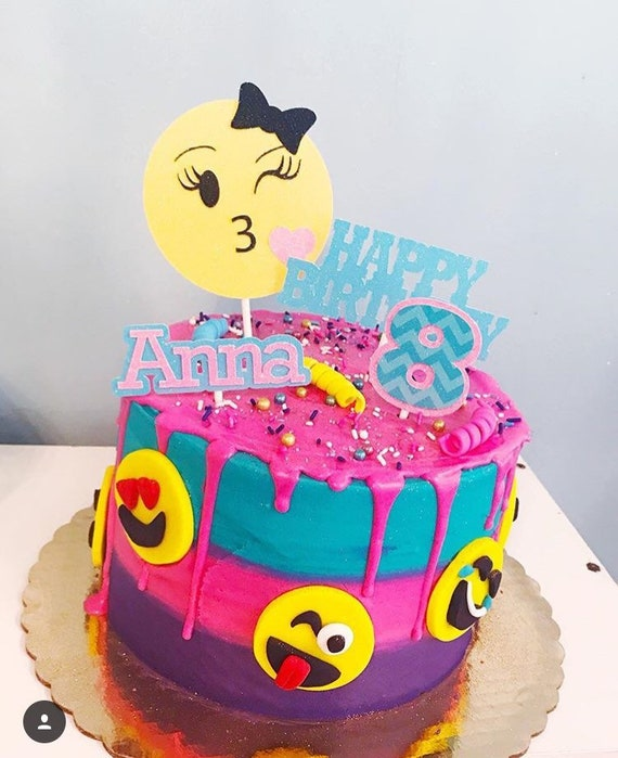 Emoji Cake Topper Party Smiley