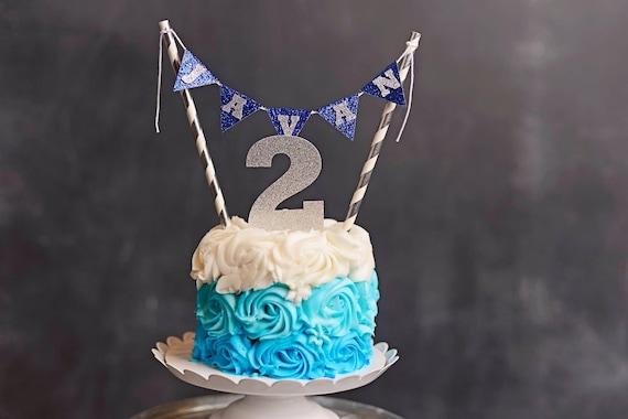 Strange Name Cake Topper First Birthday Cake Topper Navy And Silver Cake Funny Birthday Cards Online Inifodamsfinfo