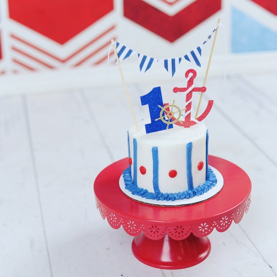 Marvelous Nautical Cake Topper Nautical Party Anchor Cake Topper Etsy Personalised Birthday Cards Sponlily Jamesorg
