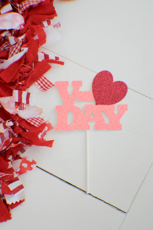 V Day Cake Topper Valentine Cake Topper Valentines Day Cake Topper