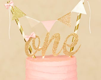 One Cake Topper, First birthday cake topper, ONE Smash Cake Set (Cake Topper and banner) Blush and gold cake topper, smash cake topper