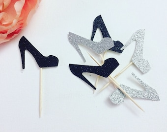 Stiletto cupcake toppers, stiletto toppers, pump cupcake toppers, high heel cupcake toppers (12 toppers)