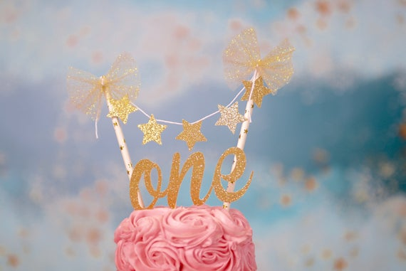One Cake Topper First Birthday ONE Smash Set Star Twinkle Little