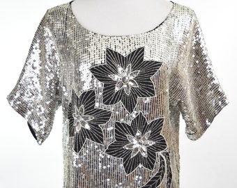 80s Shimmering Sequin Flower Top in Black & Silver // Disco Diva Studio 54 Fashion, Glam Burlesque Style, New Years Eve Holiday Party