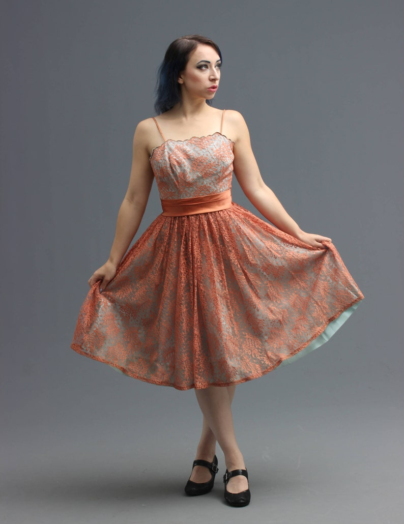 023d38056290 50s   60s Party Dress in Tiffany Blue   Rose Gold Fern Motif