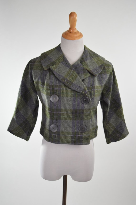 50s Plaid Wool Cropped Jacket w Chunky Buttons, Sh