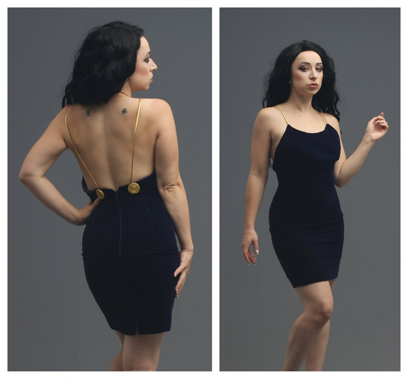 28ab9111bac 90s Midnight Indigo Blue Velvet Cocktail Dress w Gold Strap