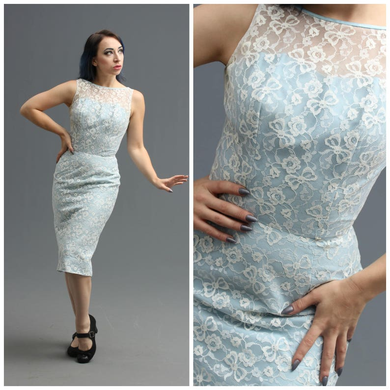 808b17969bf1 50s / 60s Powder Blue & White Lace Wiggle Dress // Ribbon   Etsy