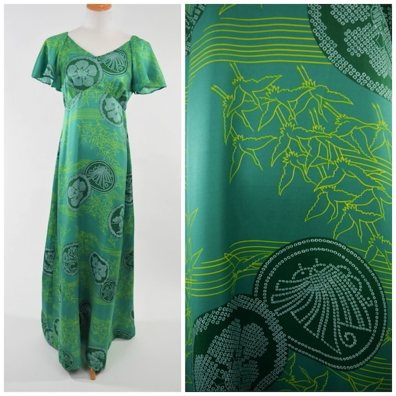 70s Green Hawaiian Maxi Dress w Butterfly Sleeves