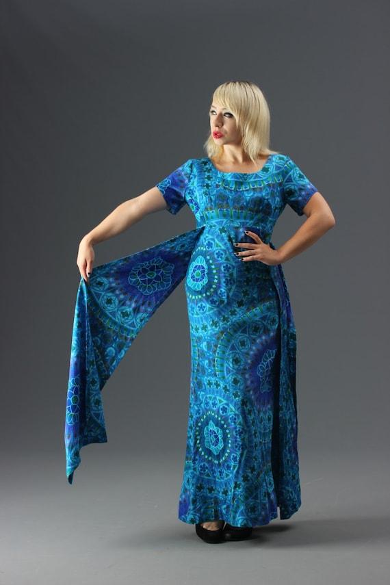 60s Aqua Blue Hawaiian Floor Length Dress w Side S