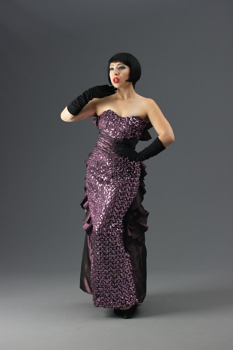 4360a977c7 80s Jessica McClintock Purple Sequin Gown w Waterfall Bustle