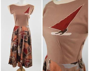 70s Windsurfer Applique & Geometirc Print Dress in Brown Earth Tones // Novelty Print Rockabilly Pinup Boho Sundress