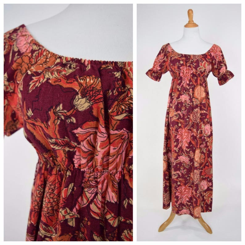 7758bbcf3820 70s Empire Waist Peasant Maxi Dress w Burgundy Rust Floral