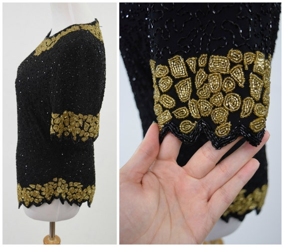 40s Silk Gold Glam Kazar Beaded Gold Black Cocktail 80s Mosaic Hollywood Blouse by Does Old amp; Beaded Laurence Party Soutache qtwOg5T