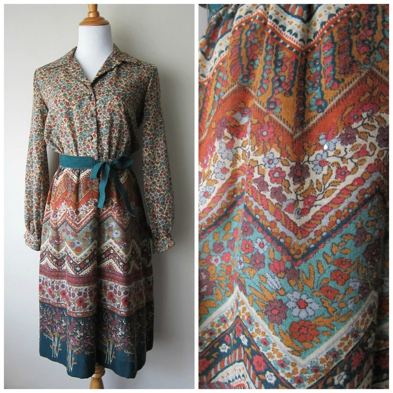 db4982965be 70s Boho Floral Ethnic Print Dress    Green Brown Rust Earth