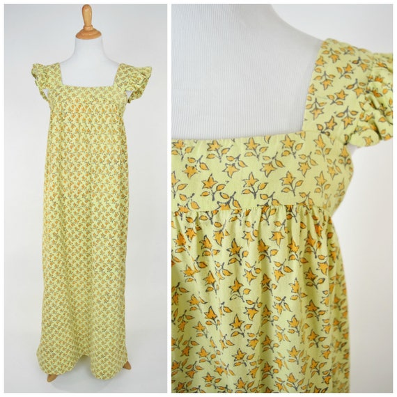 60s / 70s India Imports Floor Length Block Print Maxi Dress // Empire Waist  Babydoll Style // Bohemian Woodstock Hippie Fashion Boho Style