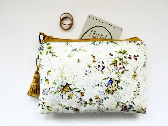 Waterproof flowers Print Coin pursecard holderbusiness cardmudclothgifts under 10