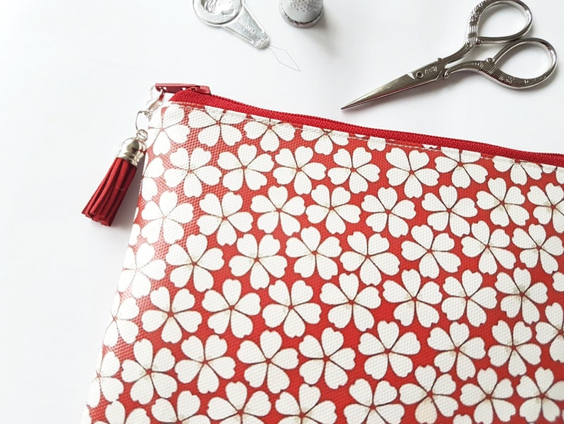Red Flower vegan leather zipper wallet,waterproof small zipper bag.