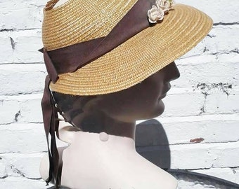 36644cb2 Cute late 1930s 40s straw sun hat with open crown with brown ribbon and bow  and flower decoration
