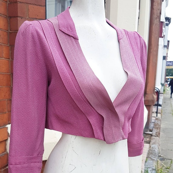 Cute 1940s Berry Pink Colour block Crepe Bolero Ja