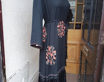 Sale stunning late 1920s 1930s black crepe dress with cut out circular embroidered art deco motifs with matching under dress and belt