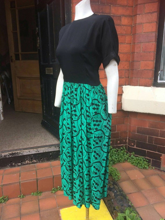 Sale stunning 1940s green and black colour block … - image 6