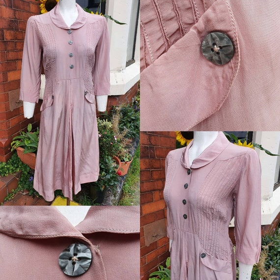 Pretty romantic pale dusky pink later 1930s smooth