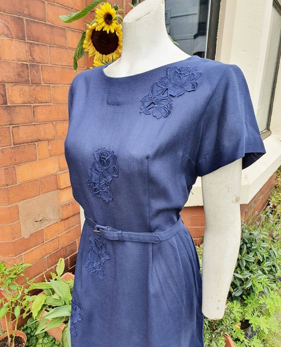 Stylish simple and practical navy blue 1950s volup