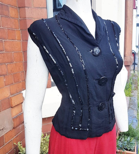 Sale stunning 1930s 40s classic black crepe and se