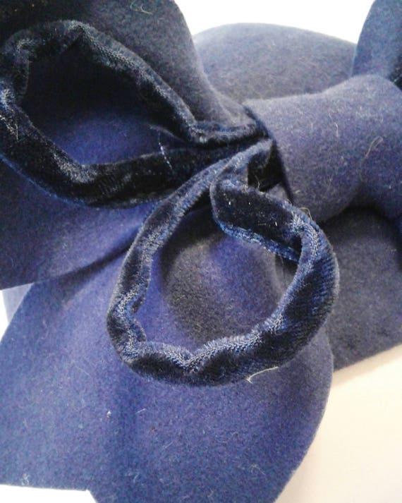 Amazing 1930s 40s purple tilt hat with huge velve… - image 4