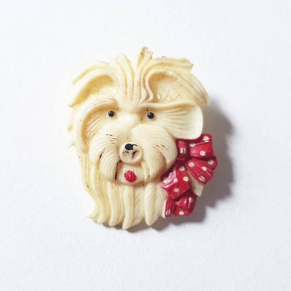 Cute 1930s 40s early plastic novelty dog brooch fu