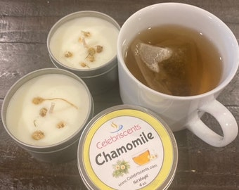 Soothing Chamomile scented soy candle with chamomile flowers atop candle making it easier to de-stress, relax and knock out anxiety.  Yes!!