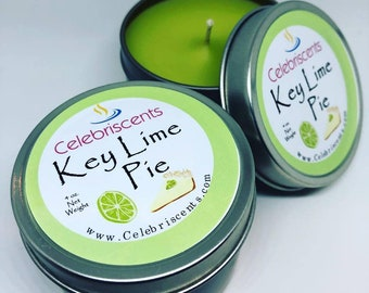 Key Lime Pie Scented Soy Candle with lots of sweetness and a strong key lime scent.  Makes a great soothing gift for any occasion.