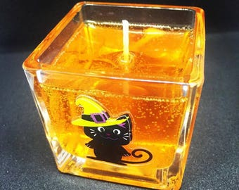 Halloween Decorated Scented Gel Candle in cute 2x2 Glass Cube.  Makes a great Gift